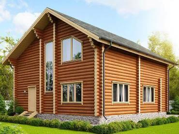 Дом бревенчатый с окнами ПВХ