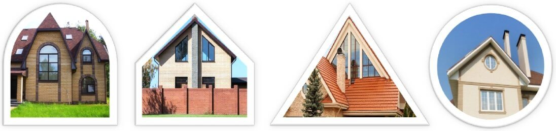Окна арочные, трапециевидные, треугольные или круглые
